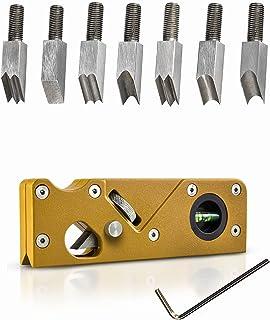 便携式倒角飞机,带 7 种刀头手动刨花机,木工刨花机,木工边角平整工具,用于快速修剪和倒角(金色)