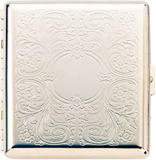 坪田珍珠 香烟 盒 特大尺寸/短(85毫米) 可收纳20支 阿拉伯风格 银色 1-95408-81