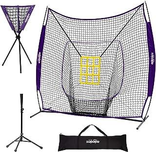 Zupapa 7 x 7 英尺棒球垒球投球网 T 恤 带打击区,棒球后退练习网 适用于所有技能水平投球击球