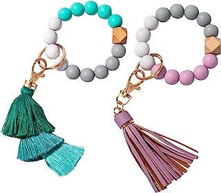 钥匙链手链,硅胶串珠钥匙圈女士腕带紫色 PU 皮革流苏和*流苏魅力便携式房车钥匙环支架
