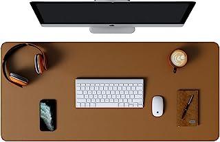 Yikda 扩展皮革游戏鼠标垫/垫,大型办公室书写桌电脑皮革鼠标垫,防水超薄 1.2 毫米 - 31.7 英寸 x 15.7 英寸(棕色/银色)