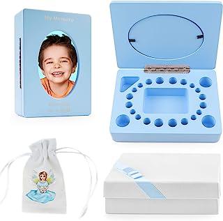 儿童牙齿仙女盒纪念品 - 可爱的牙齿支架带框架齿袋和礼盒套装 - 完美存储乳牙牙牙脐绳婴儿*和生日记录 - 婴儿淋浴的理想礼物