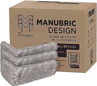 Manubric – 18 块薄砖(4.5 平方英尺) – 易于安装豪华人造 3D 砖墙,用于室内装饰(格拉斯哥)