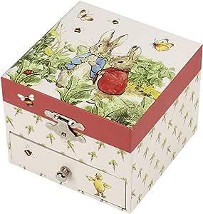Trousselier - 彼得兔 - 彼得兔 - 宝箱和音乐首饰盒 - 音乐盒 - 理想的儿童礼物-音乐菜单莫扎特-颜色红色