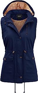 FASHION BOOMY 女式 Safari Anorak 背心 - 军装连帽无袖外套 - 常规和加大码