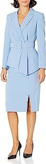 Tahari ASL 女式加大码带腰带缺口领夹克,带铅笔裙套装
