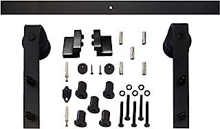 Intersteel 经典哑光滑动门系统适用于Barn 木质门,黑色,6.6 ft/200 cm