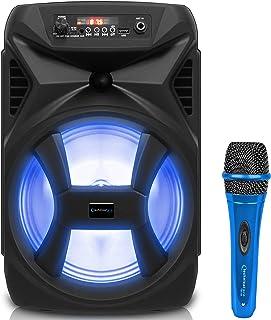 Technical Pro 500 瓦便携式 8 英寸蓝牙音箱,带低音炮和高音扬声器,真正的无线立体声,带数字处理有线麦克风,XLR 至 1/4 英寸(约 0.6 厘米),卡拉 OK DJ 有线麦克风(蓝色)