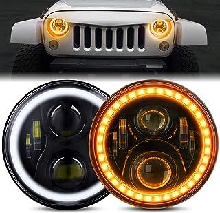 Jeep 牧马人 LED 前照灯 带光环 BEEYEO 60W 7 英寸圆形 LED 前照灯带日间行车灯 DRL 转向信号远近光灯 适用于 Jeep 牧马人 JK TJ LJ CJ 带 H4 H13 适配器,2 件