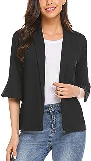 Pinspark 女式七分袖运动休闲修身工作办公室开襟西装夹克