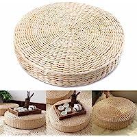 BEYST 日本Tatami 地板枕,编织吸管座垫,手工圆形Tatami 瑜伽地板座垫,透气垫,适用于花园餐厅装饰