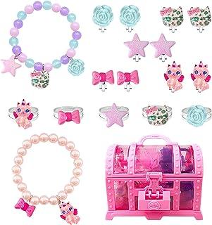 EleMirsa 17 件女孩手链夹式耳环戒指套装 小女孩公主珠宝礼品派对礼品装扮儿童珠宝套装宝藏礼盒套装 B