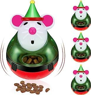 4 件猫*分配器玩具圣诞宠物喂食器不倒翁球慢猫*玩具室内搞笑老鼠形状猫食品球玩具互动游戏训练食物分配宠物用品