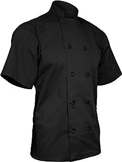 ChefsCloset 中性短袖纽扣黑色厨师夹克小厨师外套