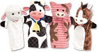 Melissa & Doug 农场好友 手偶 (木偶套装,牛,马,绵羊和猪,软的毛绒材料,4件套)