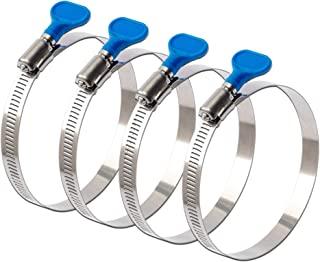 ISPINNER 4 件 2.5 英寸钥匙型 304 不锈钢蠕虫齿轮软管夹,可调节尺寸范围为 40-64 毫米,适用于烘干机通风口、集尘器和汽车