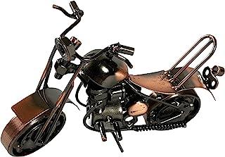 金属摩托车工业摩托车手切碎机办公室桌雕塑 7 英寸复古再生金属经典手工铁螺栓螺母摩托车独特男人洞艺术装饰自行车链(M6 铜)