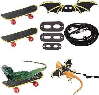 Bearded Dragon 配件胸背带套装,配有 1 件可调节牵引绳、冷翼和 2 件迷你滑板车,适用于蜥蜴仓鼠鹦鹉小宠物动物爬行动物。