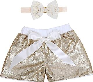 女婴短裤儿童闪耀的幼儿亮片短裤,两侧闪亮生日装,带头带