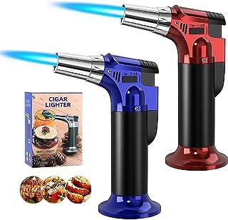 (2 件装)丁烷手电筒,厨房手电筒烹饪手电筒,带锁,可调节火焰,可重复填充迷你吹风手电筒打火机,烧烤,Brulee 奶油,工艺和焊接(不含丁烷气体)(红色/蓝色)