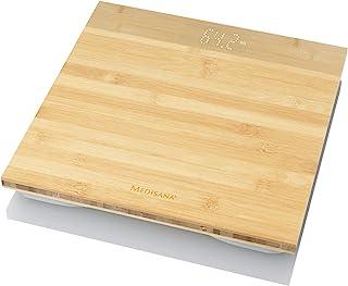 Medisana PS 440 – 数字体重称 – 由真正的竹制制成,带隐形显示屏 – 电子浴室秤 至180公斤 – 带自动关机 – 40544