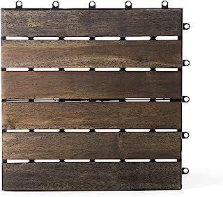 实木互锁地板砖(30.48 厘米 x 30.48 厘米)(6 块板条,核桃色,1 块瓷砖样本)