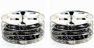 不锈钢 4 盘式Idli 支架 2 件套,可用于Idli 炊具/蒸锅,每个Idli 支架可为您的家人提供 16 个完美的偶像。
