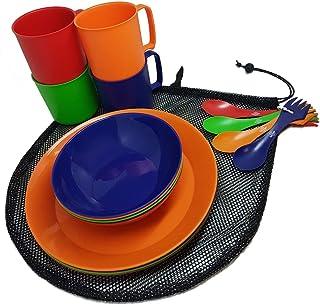 野营食品 4 人餐具套装,带网袋