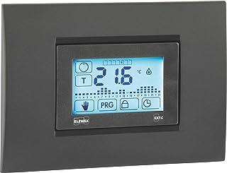 Elewex EX.1C 电子嵌入式温控器,带触摸屏显示和每周编程,白色/煤灰色