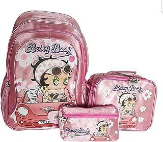 Betty Boop 书包、午餐袋和铅笔盒、大型宽敞、重量轻的 Betty Boop 行李,卓越设计和品质,适合年轻和青少年女孩,粉色和白色(3 件套)