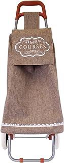 Totally Addict sh1695 Shopping Trolley 棉布,涤纶,棕色,35.5 x 32 x 95 厘米