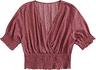 MakeMeChic 女式加大码圆点印花 V 领衬衫半袖衬衫露脐上衣