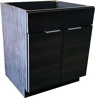 36 英寸(约 91.4 厘米)Portuna 黑色浴室梳妆台平门风格 RTA 橱柜底座 - NITURRA Moderno 系列