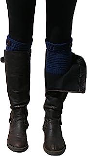 蓝色 55 种混合针织短折叠靴袖套