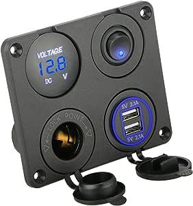 Sunjoyco 双 USB 车载充电器插座 防水电源插座 2.1A 和 2.1A (4.2A) 快速充电 带蓝色 LED 灯 适用于手机、平板电脑、汽车船舶摩托车 船舶 RV 卡车手机 - 蓝色 蓝色-2 A8A056U-S001962733FBA