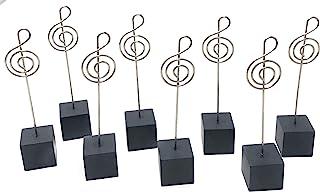 Rusoji 8 件装音乐便条电线备忘录夹卡夹,黑色立方体底座桌面支架用于照片、笔记