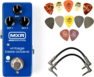 MXR M280 复古低音八度效果踏板套装,带 2 根接线和 Dunlop 拨片包