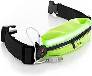sport2people LED 反光跑步腰带袋带 USB 充电灯 - 钥匙,iPhone X 6 7 8 Plus 跑步者手机支架 - 在散步和骑行时提供*佳可见性 Fluo Green