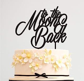 蛋糕装饰婚礼 To the Moon and Back 婚礼蛋糕装饰 生日周年纪念蛋糕装饰 金色银黑白色镜子(银镜)