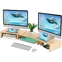 Beiz 双显示器立架 3 架电脑屏幕支架 可调节长度和角度 办公室办公桌收纳支架 带2个存储插槽 桌面支架 适用于笔记…