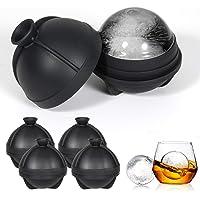 圆形冰块模具,漏斗制作 2.5 英寸大型冰块托盘,适用于威士忌冰球机 - 4 件装冰球模具 - 不含双酚A