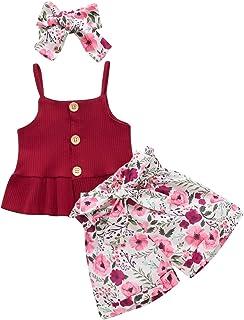 女婴夏季套装,吊带纽扣褶边吊带背心+蝴蝶结短裤条纹休闲服套装 2 件套