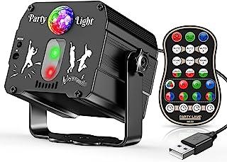 迪斯科球灯派对灯 - 声音激活高清 60 种模式舞台频闪灯 RGB 旋转 DJ 光束投影机带遥控器 适用于 90 年代派对装饰圣诞节万圣节生日跳舞