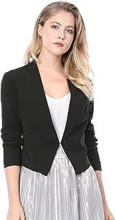Allegra K 女式无领办公办公商务休闲短款运动夹克  黑色 XS (US 2)
