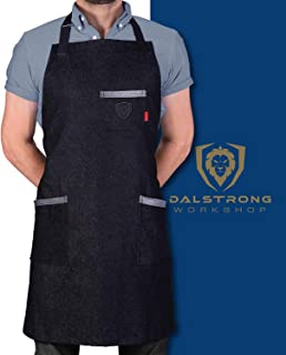 Dalstrong 专业厨师厨房围裙 - 4 个储物口袋 - 液体驱污涂层 - 真皮装饰 - 可调节肩带 The Night Rider - * Cotton Black Denim