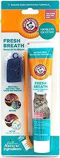 Arm and Hammer 清新口气*套件,适用于猫咪,猫牙刷和牙膏,带小苏打猫口腔护理猫*套件,适用于金枪鱼口味和新鲜薄荷香味,用于清洁猫牙齿