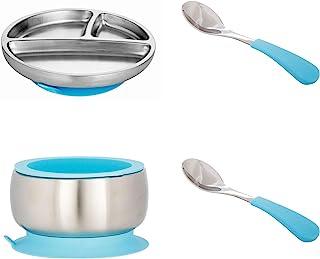 Avanchy 不锈钢幼儿喂食分餐盘 + 硅胶吸盘,婴儿,儿童或儿童餐盘。 18/8,不含双酚 A,不含双酚 A、铅和邻苯二甲酸盐。 Gift Set Blue