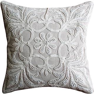 A1 HOME COLLECTIONS 装饰欧根纱法式结亚麻抱枕 A1HC,米色/米白色