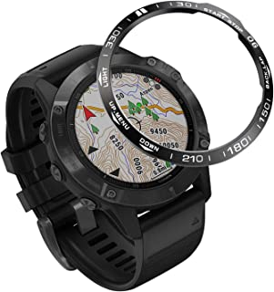 Abanen 适用于 Fenix 6X/Fenix 6X Pro 手表表圈,不锈钢抛光粘合盖防刮保护盖环适用于 Garmin 佳明 Fenix 6X Pro/蓝宝石(黑色)