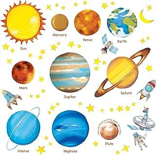 DECOWALL DAT-1307L 太空行星儿童墙贴墙贴即剥即贴可移除墙贴适用于儿童幼儿房卧室客厅(大)装饰